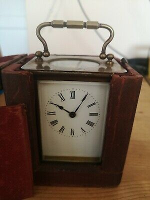 ANTIQUE French? CARRIAGE CLOCK -with wood/  LEATHER Case and key