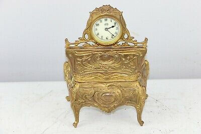 Antique Jennings Brothers Art Nouveau Cast Table Shelf Clock & Jewelry Box Combo