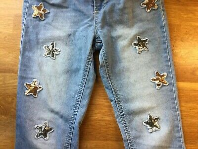 Girls Skinny Jeans With Sequin Stars, Age 10-12