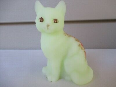 Fenton Hand Painted Yellow Satin Glass Burmese Cat Floral Pink Flowers Signed