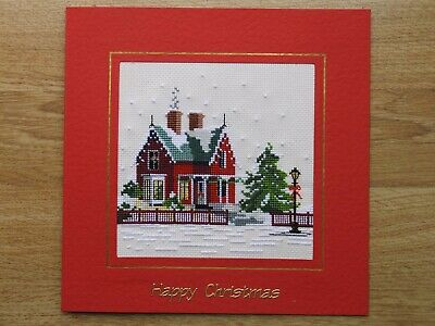 Completed Cross Stitch Christmas Card - Christmas House