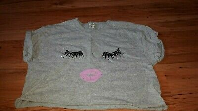 Girls grey River Island eyelash t-shirt age 9/10 years