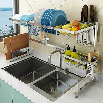 Large Over Sink Dish Drying Rack Plate Drainer Holder Kitchen Stainless Steel AA
