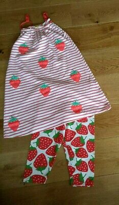 Mini Boden Strawberry Applique Dress and Crop Leggings matching set 11 - 12 Year