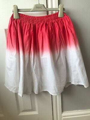 Nutmeg Girls Red And White Ombre Skirt Elasticated Waist Age 10-11 Worn Once