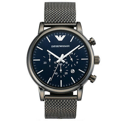 Genuine New Mens Emporio Armani Watch Blue Dial Gunmetal Case Luigi AR1979