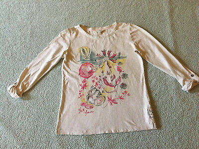 Fat Face, White Cloud -Embellished Print -Cotton Top. Age 12/13 Worn Once