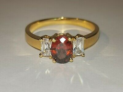 Beautiful Gold Tone Red And Clear Stone Trilogy Ring - Metal Detecting Find