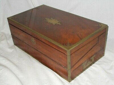 Large Antique Regency Georgian Mahogany Military Campaign Writing Slope Box