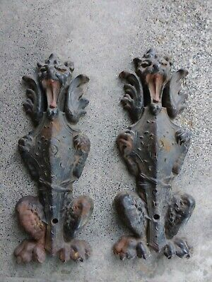 Authentic 19th C. Cast Iron Gothic Dragon Andirons Signed W. H. P. Rues N.J.
