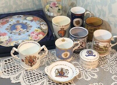 Royal Commemorative China Worcester Royal Albert Burleigh Boxed Cake Plate Cups