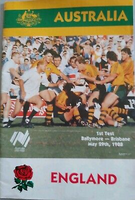 AUSTRALIA v ENGLAND 29th May 1988 - 1st Test RUGBY PROGRAMME BRISBANE