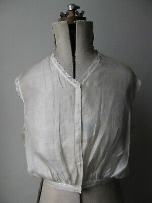 Antique Edwardian off-white translucent silk & lace trimmed camisole vest top. S