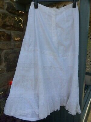 Original Victorian White Full Length Cotton Lace & Ribbon Underskirt Petticoat