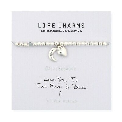 Love You To The Moon Bracelet – Life Charms Silver Plated Jewellery Gift For Her