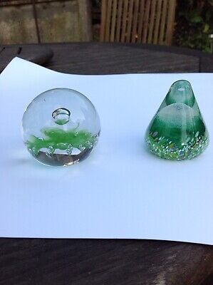 Caithness paperweights X 2  - Green/multicoloured - good condition
