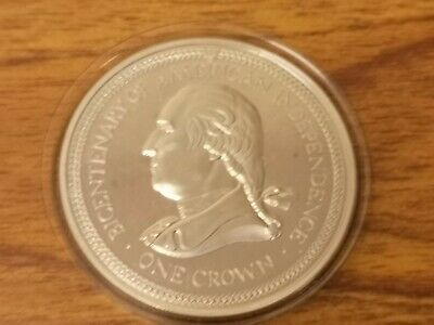 1976 Isle of Man Silver proof one crown coin - 28.3g - US Bicentenary