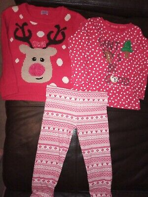 Girls Age 3-4 Christmas Outfit Bundle Top Leggings & Jumper Next F&F