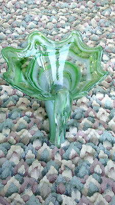 "Vintage Hand Blown Art Glass Green  Swan Bowl Dish....7.5"" Height 10"" Long"