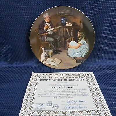 The Storyteller Norman Rockwell Decorative Plate  #4838K by Edwin Knowles (1D20)
