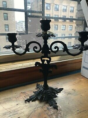 Ornate Rustic Cast Iron Candle Holder Table Centrepiece Home Decor Antique Style