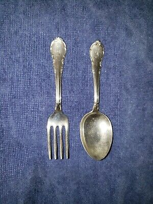 """Antique Sterling Silver Baby Spoon & Fork set """"Modern Victorian"""" by Lunt c. 1941"""