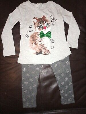 Girls Age 2 3 4 Christmas Outfit Bundle Top Leggings  cat  xmas