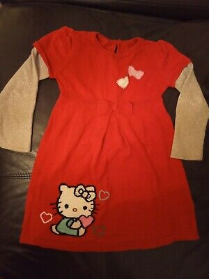 Girls Hello Kitty Jumper Dress Age 3-4 M&S Xmas sparkle Red