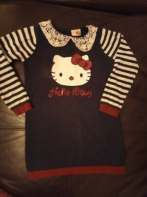 Girls Hello Kitty Jumper Dress Age 4 Tu Ideal Xmas sequin Knitted winter