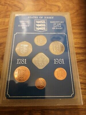 1981 Jersey 7 coin set : inc Battle one pound