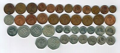 41 different Decimal coins from Jersey : 1968 - 1998