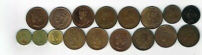 17 different Pre-Decimal coins from Jersey : 1877 - 1966