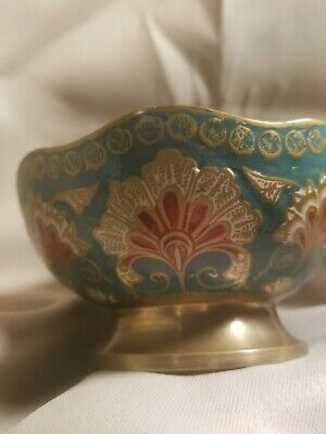 Antique Asian Chinese Japanese Cloisonne Enamel Brass Bowl Plate Signed Marked