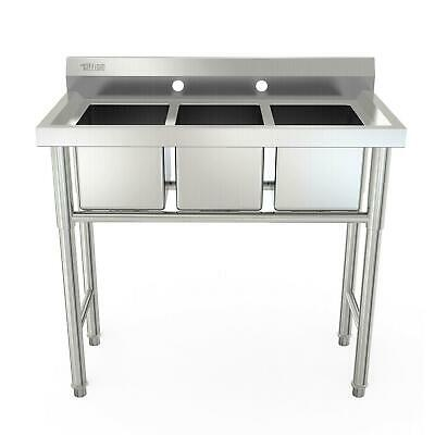 """39"""" Wide Heavy Duty Commercial 3-Compartment Stainless Steel Utility Sink Silver"""