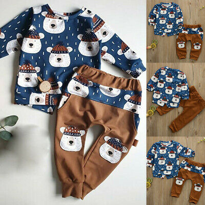 Toddler Kids Baby Boys Girls Winter Tops Pants Leggings Outfit Clothes Tracksuit