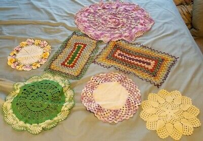 Vintage 7 pc. Lot Doilies Lot Hand Crochet ASSORTED SIZES & Colors Sewing Crafts