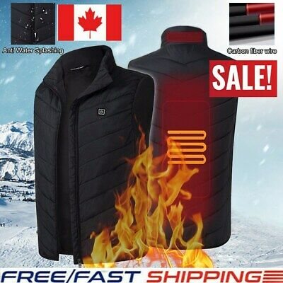 USB Men Electric Heated Coat Jacket Hooded Heating Vest Winter Thermal Warmer