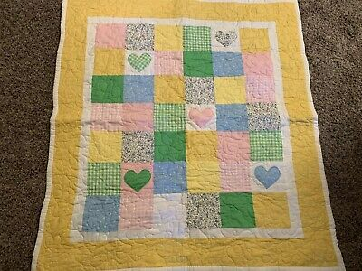 BABY GIRL  QUILT CRIB LAP THROW BLANKET PINK Hearts  PATCHWORK