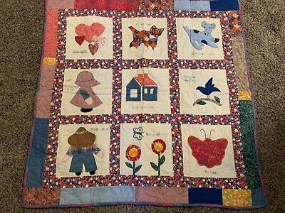 HANDMADE BABY GIRL  QUILT CRIB LAP THROW BLANKET Animals Dog Cat PATCHWORK