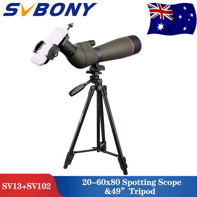 """Spotting Scope SV13 Zoom 20-60x80+Cell Phone Adapter +49""""Travel Tripod AU LOCAL"""