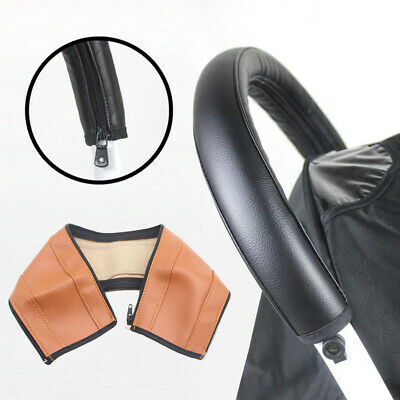 NE_ Faux Leather Pram Stroller Arm Handle Protective Case Cover For Armrest Co