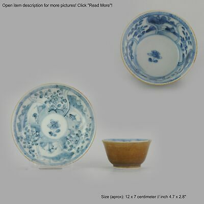 Antique Kangxi Period Batavian Blue and White Dish with flower scene  [:...