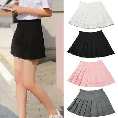 Women Skirt Tennis Girls School Uniform Skater Skirt High Waist Pleated Strict