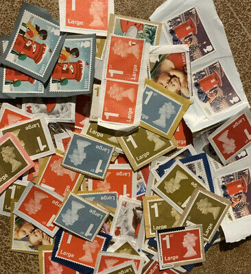 25 Unfranked First 1st Class Large Assortment Xmas Gold Red Stamps GB Kiloware