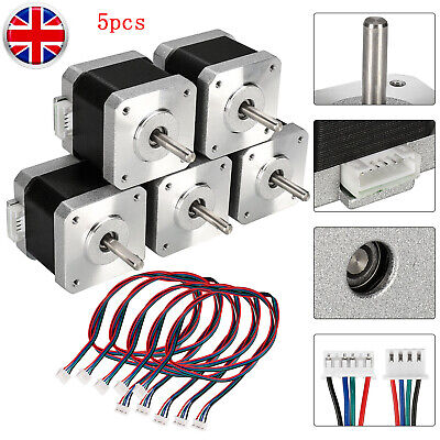 5pc Nema 17 Stepper Motor 40mm 1.5A 1.8 ° For 3D Printer Reprap CNC Accessory UK