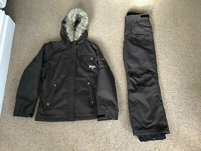 ROXY Girls Ski Outfit Jacket & Trousers. Brown. Age 16 years