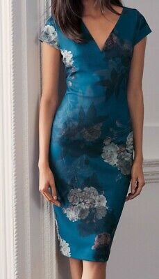 Next Teal Floral Bodycon Dress Size 12