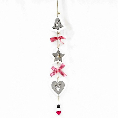 Wooden Hanging Christmas Decoration With Reindeer / Stag & Gingham Ribbon 60 cm