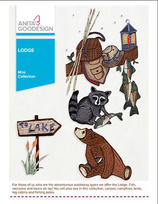 Anita Goodesign Machine Embroidery Pattern - Lodge - camping & fishing
