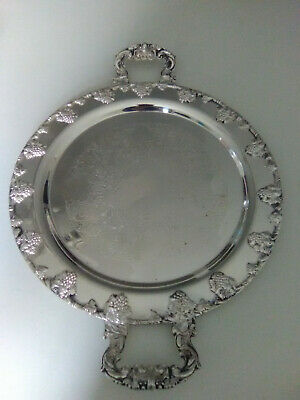 "Large Round Butler/Tea Silver Plated Serving Tray 18""  W/Handles, Grape Design"